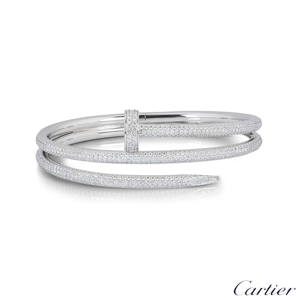 Cartier White Gold Diamond Juste Un Clou Bracelet Size 16 N6708716